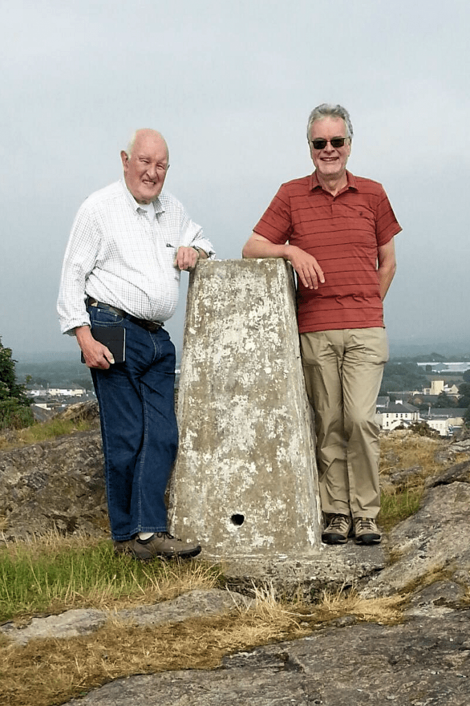 Maldwyn Pugh and Jonathan Pegler at the top of Twt Hill above Caernarfon